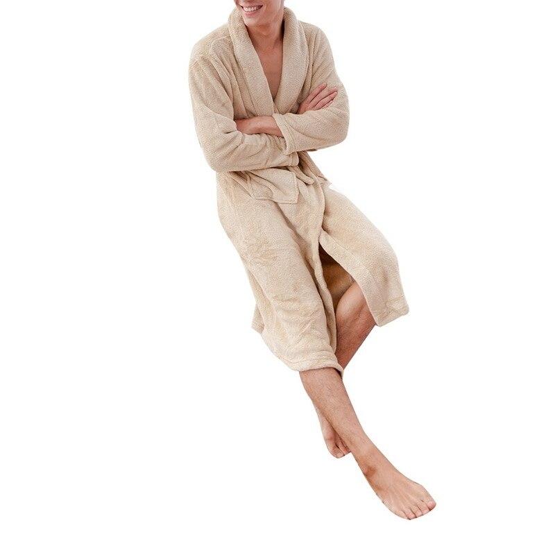 Image 5 - LITTHING Lovers Dress Men Women's Warm Super Soft Flannel Coral Fleece Long Bath Robe Men Kimono Bathrobe Dressing Gown Robes-in Robes from Underwear & Sleepwears on AliExpress