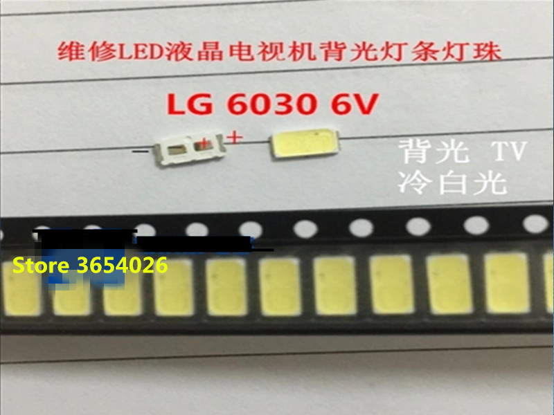 100 Pieces/lot LEDs working for LG 6030 6V 0.5W 80MA repair LG LED strip Cold white light
