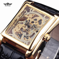 Stylish Rectangle Hollow Carve Mechancial Watches Men Leather Band Wristwatch Fashion Wild Dress Watch Sport Golden