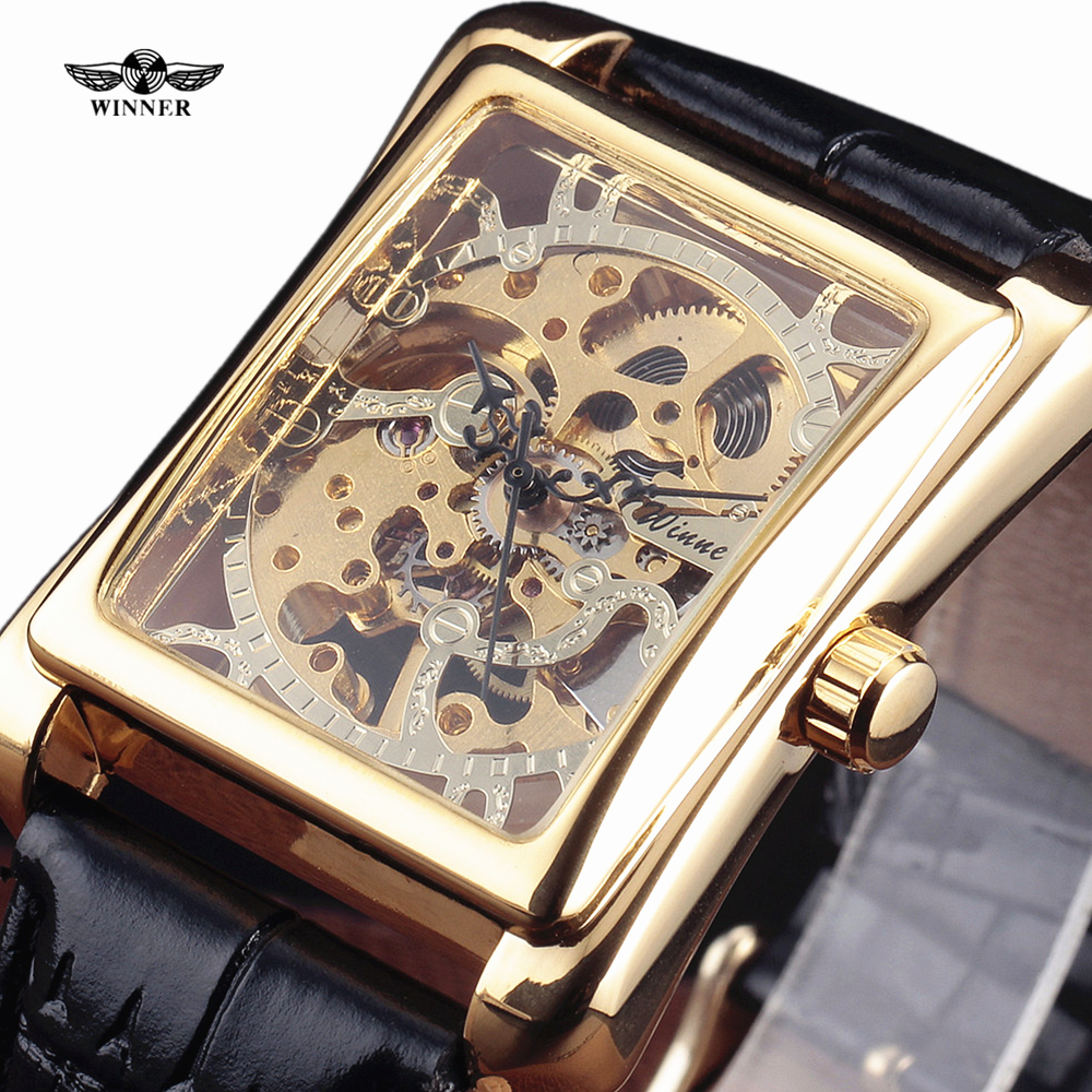 New Fashion Winner Brand Men Mechanical Hand-Wind Classic Skeleton Carving Dial Leather Strap Wristwatch Male Elegant Gift Clock royal carving ks rose gold skeleton automatic self wind wristwatch male fashion clock leather strap mechanical watch gift ks294