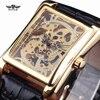 Stylish Rectangle Hollow Carve Mechancial Watches Men Leather Band Wristwatch Fashion Wild Dress Watch Sport Golden