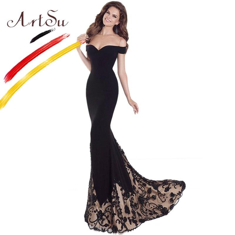 ArtSu Black Floor Length Mermaid Party Dress Vintage Off Shoulder Flower Embroidery Patchwork Lace Maxi Dress Vestidos For Women