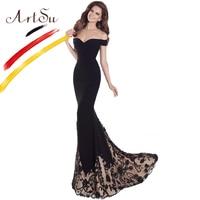 ArtSu Black Floor Length Mermaid Party Dress Vintage Off Shoulder Flower Embroidery Patchwork Lace Maxi Dress