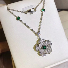 026e824b7c Fashion brand replica jewelry 3A cubic zirconia fan flower necklace diva  dream pendant party jewelry silver
