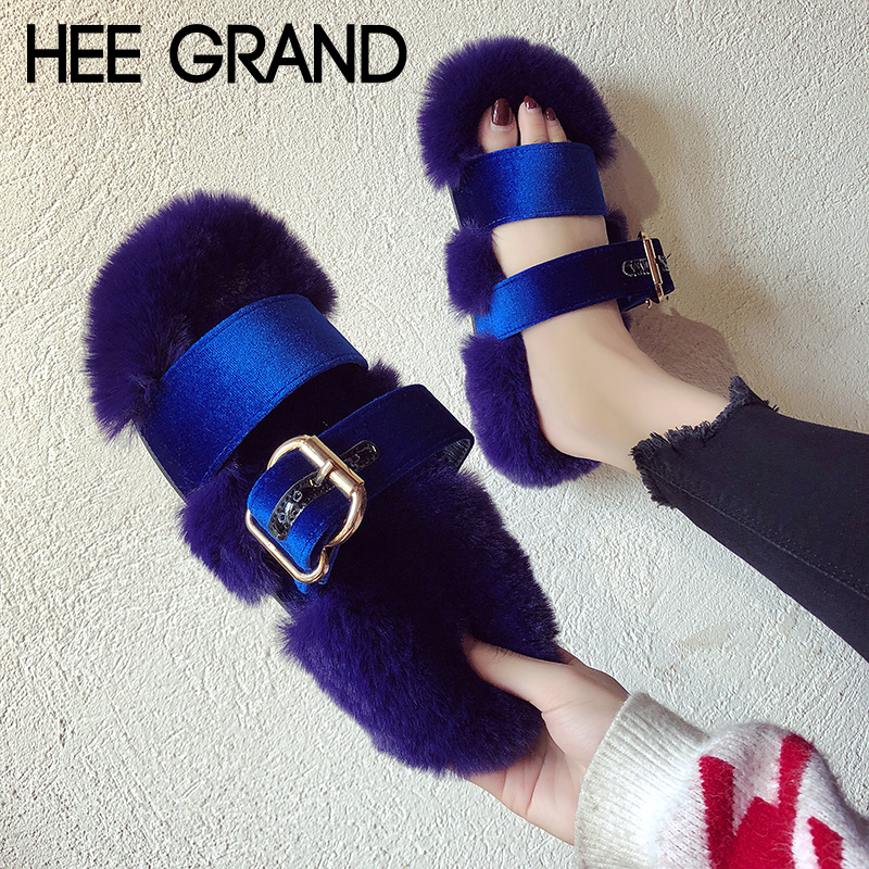 HEE GRAND Faux Pelz Frauen Hausschuhe Plattform Winter Warme Schuhe Frau Creepers Slip Auf Frauen Kausalen Mode Wohnungen Schuhe XWT1413