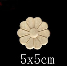 D:5CM  T:0.6CM Wood stick Decal Decals flowers carving furniture door trim patch circular decals