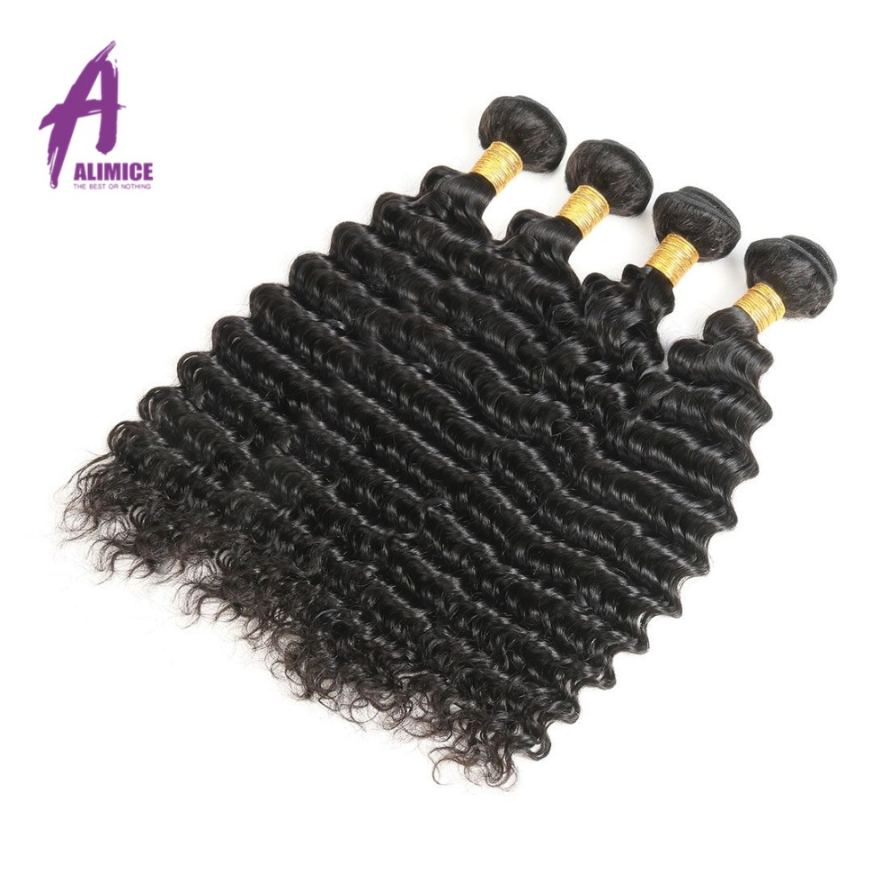 Alimice Hair Brazilian Deep Wave Hair 1/3/4 Bundles Deal 100% Remy - Cabello humano (negro)