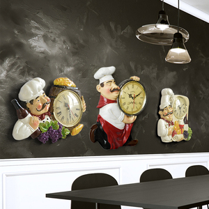 Image 4 - Resin Chef Cute Wall Clock Home Watch Bathroom Kitchen Clock vintage Wall Watches Home Decor Wall Clock Modern Design