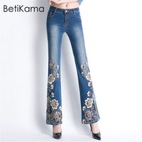 BetiKama 2018 Fashion Jeans Woman Zipper Embroidered Flares Beading Jeans Femme Denim Jean Trousers Bell Bottom Jeans