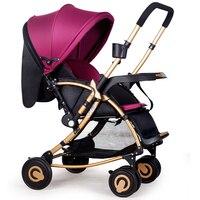 Baby stroller folding rocking horse Pushchair Infant Stroller gold frame