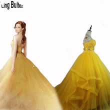 Ling Bultez High Quality 2017 Beauty and The Beast Cosplay Costume 2017 Princess Belle Costume2017 Belle Dress #2