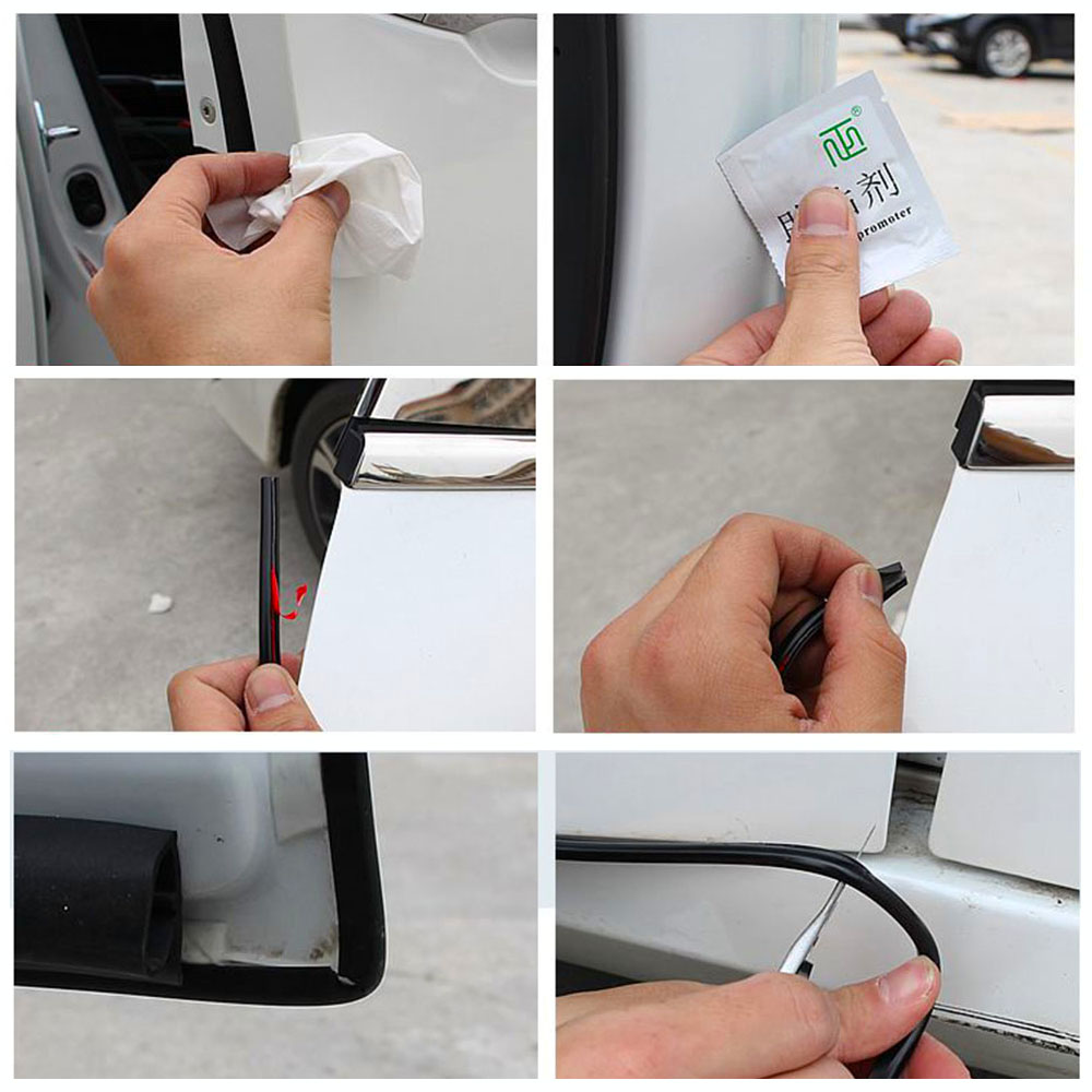 8M Universal Car Door Scratch Protector Strips Rubber Edge Doors Moldings Side Protector Sticker Scratches Vehicle For Cars Auto (10)