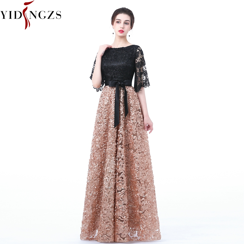 YIDINGZS New   Evening     Dress   Black With Khaki Color Lace Floor-length Long Prom Party Gowns