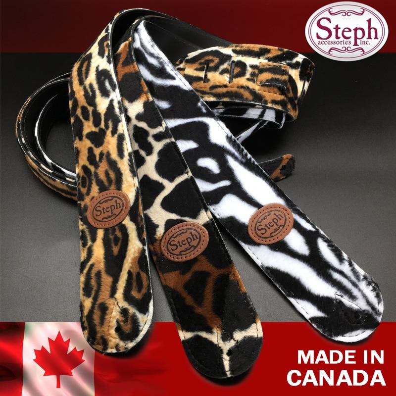 Steph B190 sangle de guitare ou de guitare basse en fausse fourrure avec dos fendu en cuir, Leoparg, girafe, zèbre, Style Animal, fabriqué au Canada