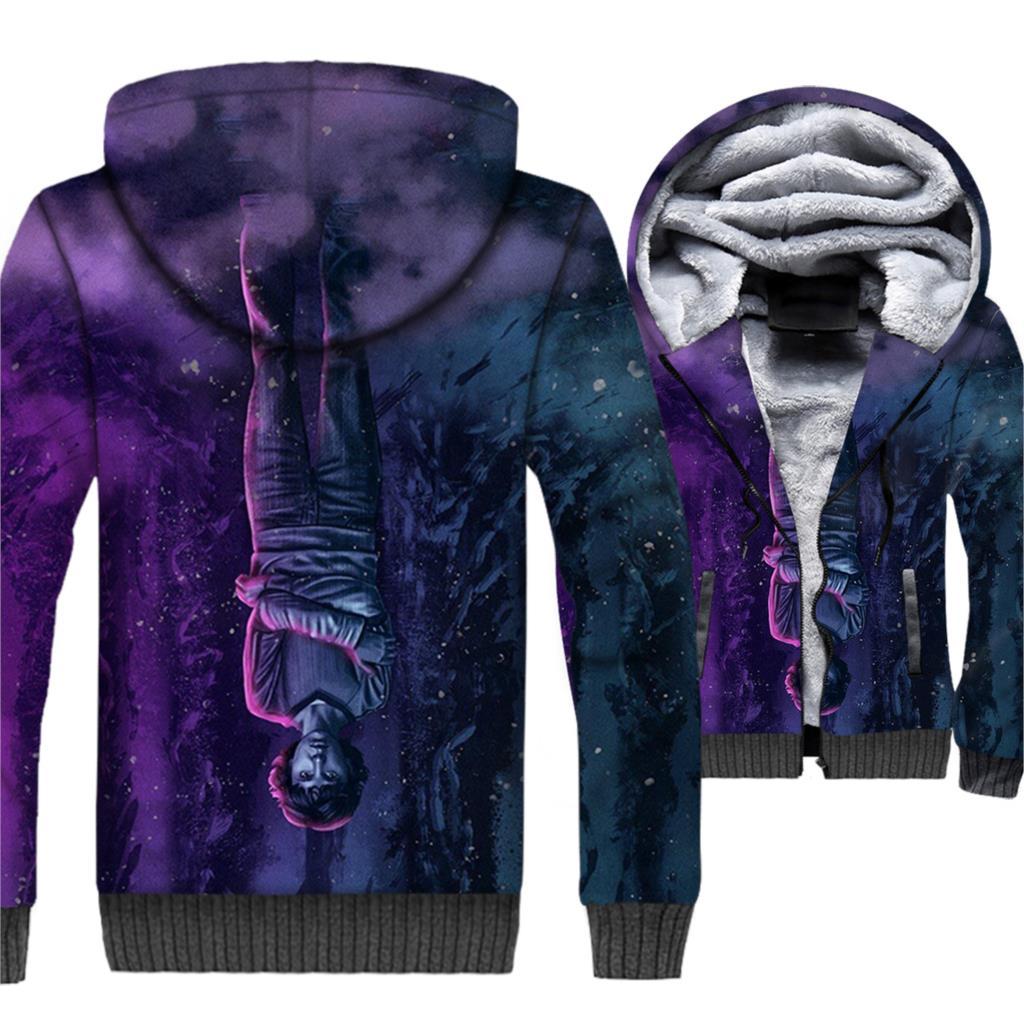 Mens Hoodie Upside Down Jacket Men Casual Sweatshirt 2018 Winter Fleece 3D Coat TV Show Sportswear Hip Hop Streetwear