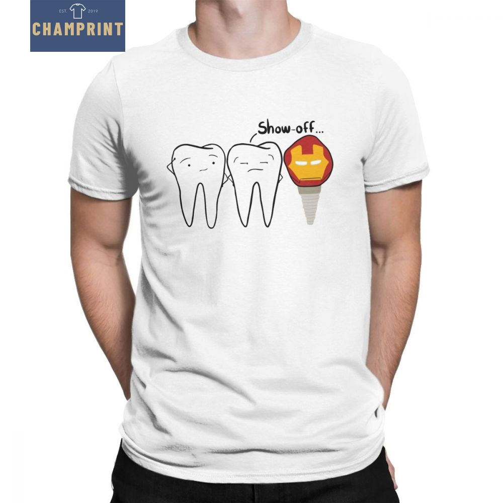 Men's Show-off Tooth   T  -  Shirts   Dental Implant Dentist Dentistry Tees Round Neck Short Sleeve Tops 100% Cotton   T     Shirt   Plus Size