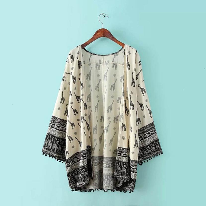 2b7ad2ae64ae Blusas Feminina 2019 Kimono Cardigan Blouse Women s Long Sleeve Giraffe  Printed Shirt Women Casual Cover Up Tops Clothing  Ju-in Blouses   Shirts  from ...