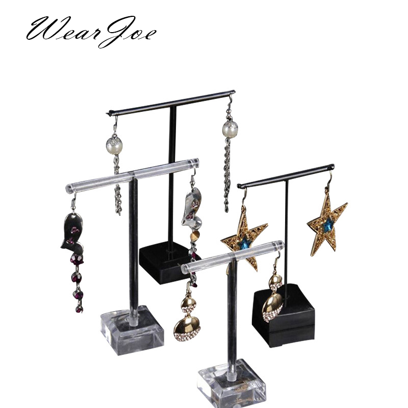 Black & Clear Acrylic Earrings Jewelry Display Rack Stand Organizer Holder Case Necklace Bouches Ornament Hanger T-Bar 2pcs/set