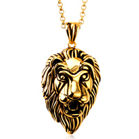 Punk Retro Vintage Stainless Steel Anger Tiger Head Pendants Necklaces Gold Chain For Men Jewelry