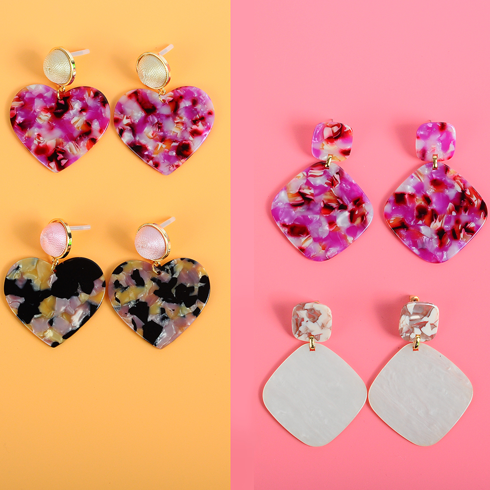 New Fashion za Statement Jewelry Cute Colorful Rose Heart Dangle earring For Women Charm Acrylic Geometric Hanging earring 2019