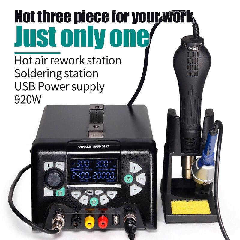 YIHUA 853D 5A II 920W SMD Soldering Station USB DC Power Supply Heat Gun BGA Rework Station Solder Iron 3 In 1 Welding Tool