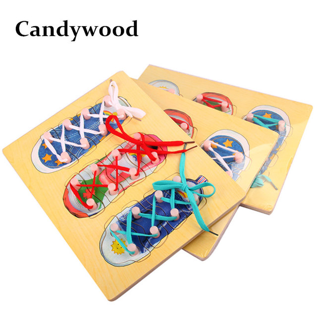 Candywood Baby Kids Wooden Montessori Educational Toys Shoe Jigsaw