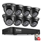 ZOSI 1080N 8CH HD TVI 4in1 DVR 1.0MP 720P IR Day Night CCTV Camera Security System with 1TB Hard drive
