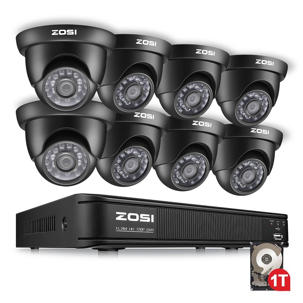 ZOSI 720P 8 Channel Dome Video Led Black Camera CCTV System Hybrid DVR Kit with 1TB
