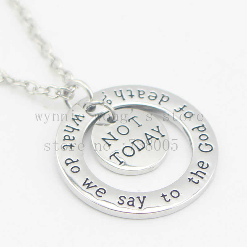 "2016 hand stamped Jewelry Game of Thrones ""What do we say to the God of death?"" And ""Not Today Hand Stamped Pendant Necklace"