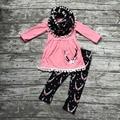Детские зимние НАРЯДЫ для девочек 3 шт. наборы с шарфом устанавливает девушки олень одежда новорожденных девочек бутик одежды оленей костюмы