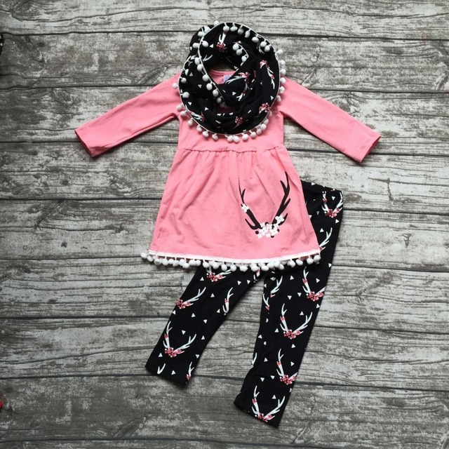 8da2e16a56115 US $16.99 |baby winter OUTFITS girls 3 pieces sets with scarf sets girls  reindeer clothing baby girls boutique clothes reindeer outfits -in Clothing  ...