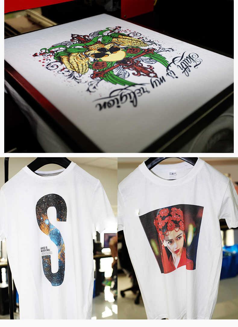 DOMSEM Tshirt T-shirt Kain T shirt Printer UV inkjet A3 ukuran Digital Kustom DIY Garmen Mesin Cetak 2880 dpi gratis dengan tinta