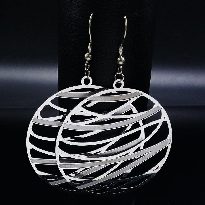 Fashion Stainless Steel Bohemian Earrings for Women Silver Color Big Dangle Earrings Jewelry boucle d oreille boheme E1540S01