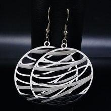 Moda de aço inoxidável boêmio brincos para mulher cor prata grande balançar brincos jóias boucle d oreille boheme e1540s02