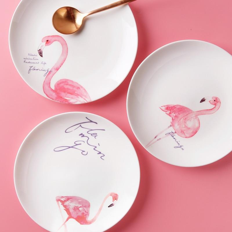 Pink Flamingo Porcelain Ceramic Dinner Plates White Porcelain Tray Dishes For Restaurant Serving Plate Dessert Food Plate