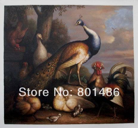 Handmade Beautiful Peacock Oil Painting Reproduction Wall Art Paintings Hen and Cock Pheasant in a LandscapeHandmade Beautiful Peacock Oil Painting Reproduction Wall Art Paintings Hen and Cock Pheasant in a Landscape