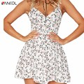 vancol 2017 new arrival summer sexy v neck backless sleeveless short party club sexy dress strap boho sweet Country style dresss