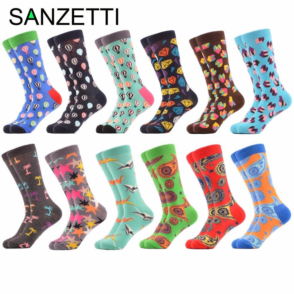 SANZETTI 12 pairs/lot Mens Funny Combed Cotton Brand Socks Balloon Diamond Casual Crew Socks Novelty Dress Party Wedding Socks