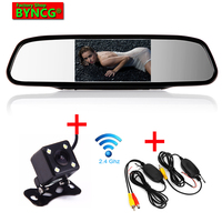 BYNCG Wireless Parking Assistance System 2 in 1 4.3 inch Digital TFT LCD Mirror Wireless Rear view Camera Car Parking Monitor