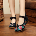 New design summer fashion flowers embroidery chinese style wedge heels ladies shoes leisure sexy black women pumps shoes