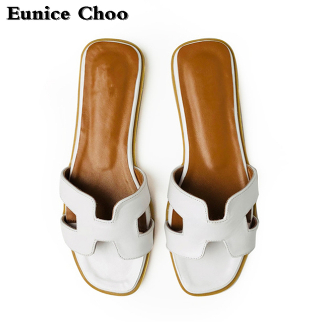 30a6d0aab1be Black White Silver Beach Woman Slippers Summer Sandals Eunice Choo Italian  Open Toe Flat Leather Shoes Women Slides Outside