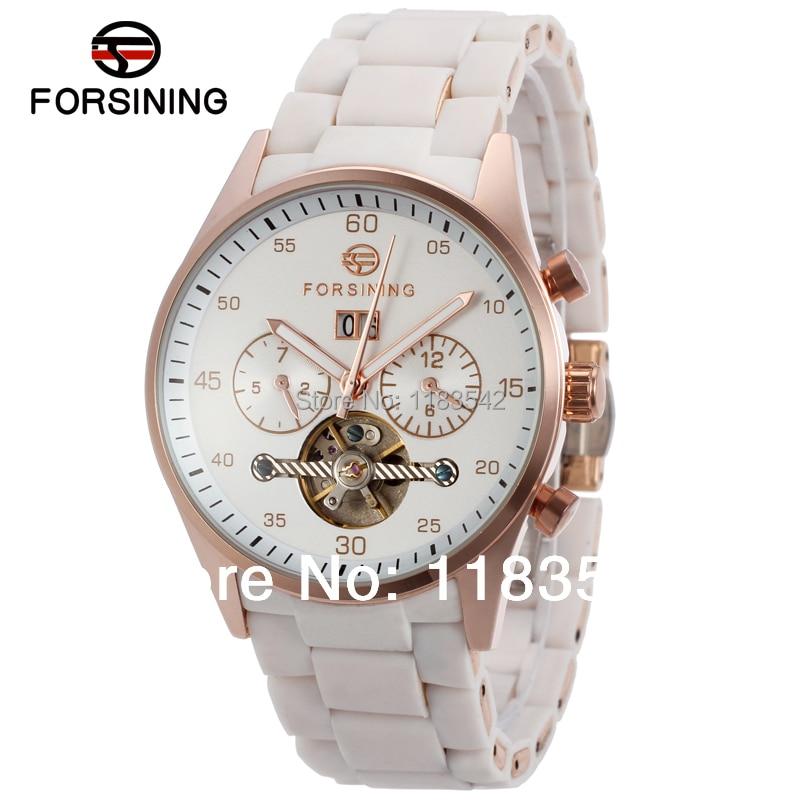 где купить  Forsining new Automatic men  fashion tourbillon metal white color wristwatch with white band free shipping  по лучшей цене