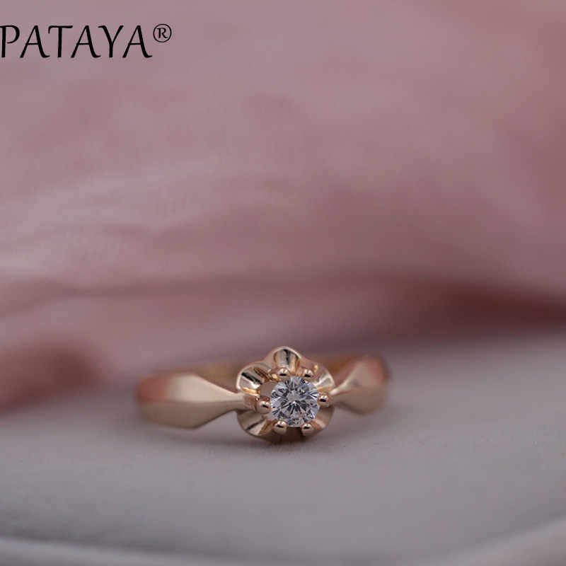 PATAYA New Arrivals Women White Round National Zirconia Ring 585 Rose Gold Rings Special Offer Female Wedding Trendy Jewelry 5mm