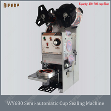 цена на WY680 semi-automatic plastic paper bubble tea cup sealing machine 450~500 cups/hour electric cup sealer for milk tea shop