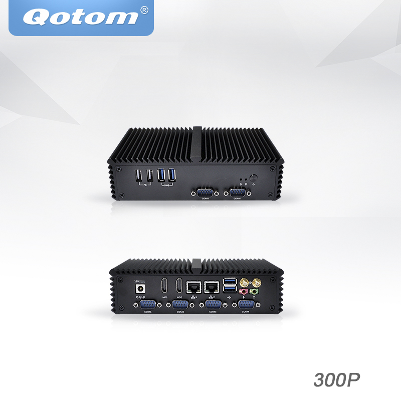 Qotom Mini PC X86 Dual Core Processor Celeron Core I5 I7 Dual Display 6rs232 Linux Ubuntu Fanless Barebone Industrial Computer