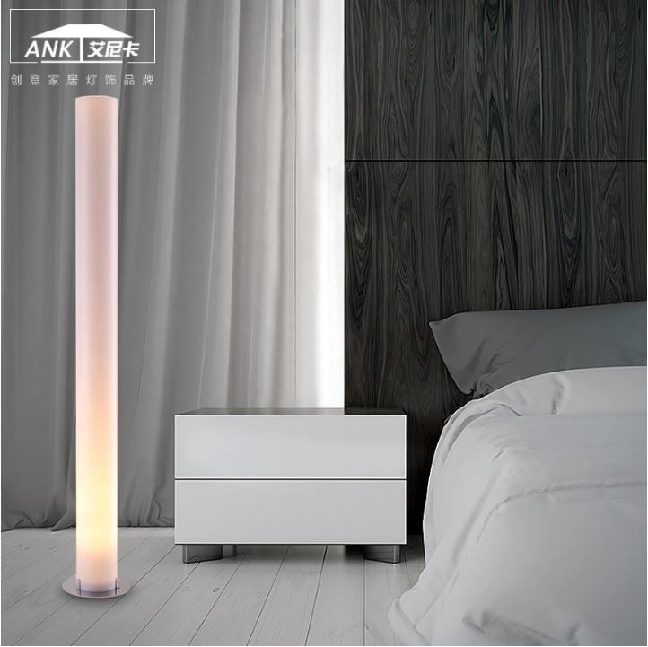 Tube Tall Aluminium And Beige Cylinder Floor Lamp 150cm/5ft Height, 15cm Diameter Shade, 35cm Base
