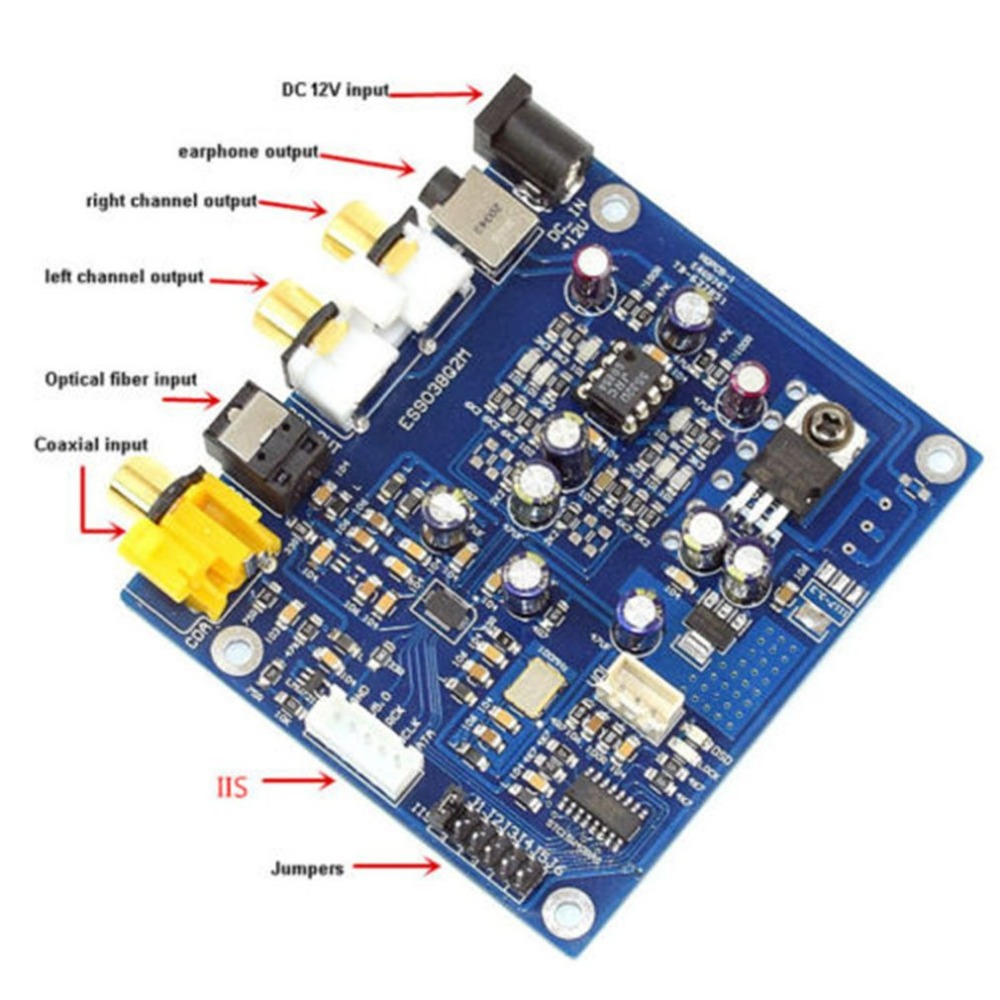 ES9038 Q2M I2S DSD Optical Coaxial Input Decoder DAC Headphone Output PCB Board DAC HiFi Audio
