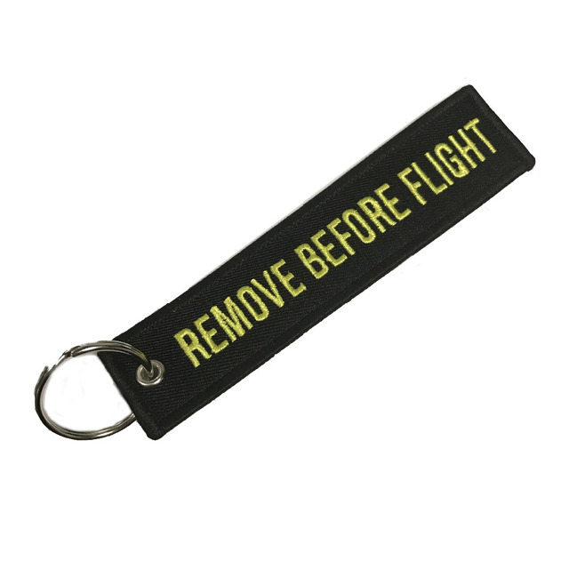 Doreen Box Remove Before Flight Fashion Tags Keychain Keyring Rectangle Polyester Embroidery Message 13*3CM Multicolor 1 Piece 2