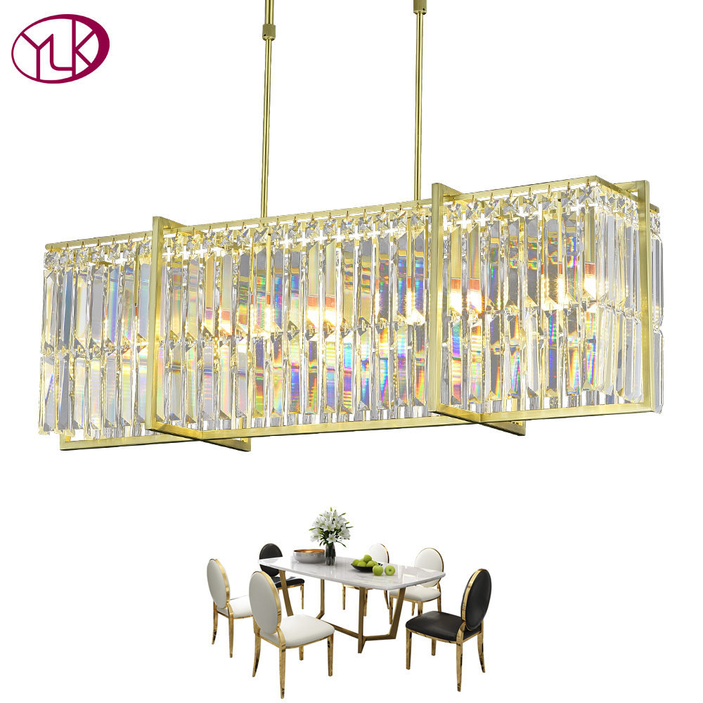 Sala de Jantar Lustre de Cristal de Luxo LEVOU Cristal Youlaike Lampadario Retângulo Cromo Polido Dispositivo Elétrico de Iluminação Casa Decoração Da Lâmpada