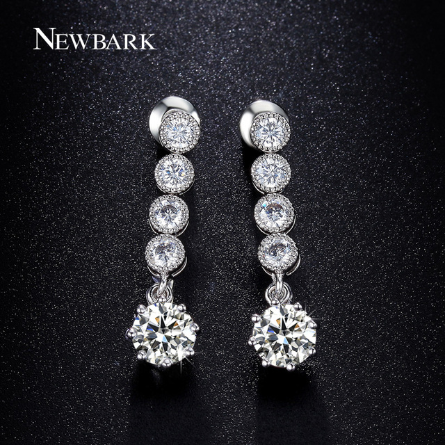 NEWBARK Trendy Silver Color CZ Long Drop Earrings For Women Round Cubic  Zirconia Bridal Rhinestone Earrings Jewelry Brincos e73371640aca
